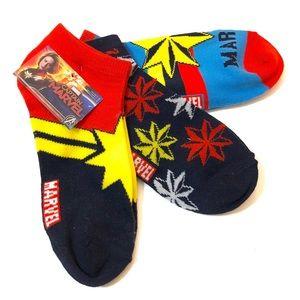 Captain Marvel Low Cut Socks 3pk Red Blue Stars
